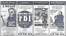 ?? FOTO: SZ ARCHIV ?? Ein James-Bond-Nachahmer, James Stewart und Karl May: eine nostalgische Kino-Anzeige in der Saarbrücker Zeitung zu Silvester 1965.