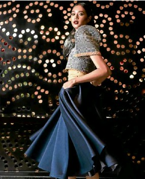 "cf52e9b2904 ""Binakol"" terno top with trim embroidery and navy blue silk gazar circle  skirt by JC Buendia. """
