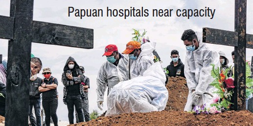 ?? PHOTO: REUTERS ?? Papuan hospitals near capacity Life lost . . . Gravediggers wearing personal protective equipment (PPE) bury a coffin at a burial area provided by the government for Covid19 victims as cases surge in Jayapura, Papua, Indonesia.