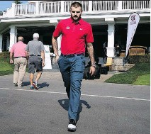 """?? ALLEN MCINNIS ?? Alex Galchenyuk leaves the clubhouse during the Canadiens' charity golf tournament on Monday. General manager Marc Bergevin says Galchenyuk will largely play on the wing this season while the team """"experiments"""" with Jonathan Drouin at centre."""