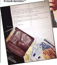 ??  ?? In einem Entschuldigungsschreiben bittet der ehrliche Dieb bei der Studentin Sarah B. aus Wien-Döbling um Ver zeihung.