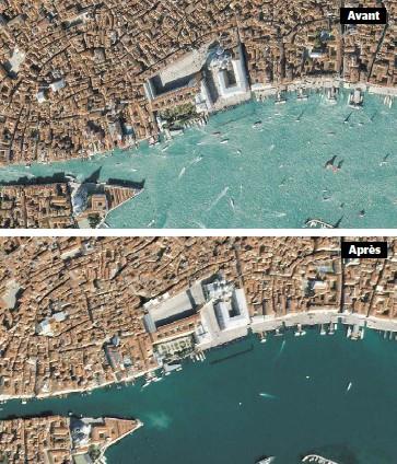 ?? PHOTOS AFP ?? Les bateaux de croisière ne sont plus là, les gondoles sont à quai et l'eau des canaux de Venise est redevenue limpide, après 10 jours sans touristes. La photo du haut montre les eaux de la place Saint-Marc avant les mesures strictes de confinement.