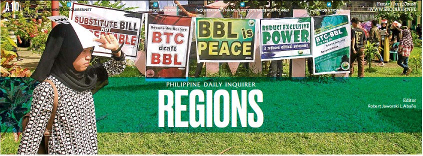 ?? —RICHEL UMEL Editor Robert Jaworski L. Abaño ?? SUPPORTING BBL Placards supporting the original version of the Bangsamoro Basic Law are displayed in Marawi City during a peace gathering organized by civil society groups in Mindanao.