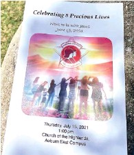 ?? AP PHOTO/KIM CHANDLER ?? The program for a memorial service for eight young people, killed when a van returning to an Alabama girls home after a week at the beach wrecked last month, is shown outside the event Thursday in Auburn, Ala. Two other people died in a separate vehicle in the crash, which happened as Tropical Storm Claudette moved through the Southeast.