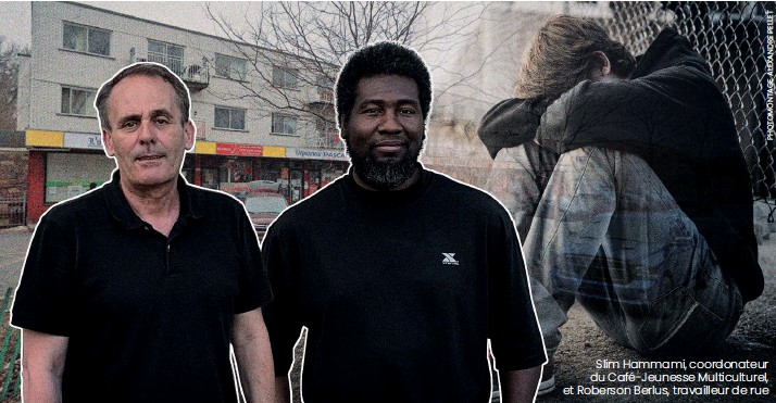 ??  ?? Slim Hammami, coordonateur du Café-jeunesse Multiculturel, et Roberson Berlus, travailleur de rue