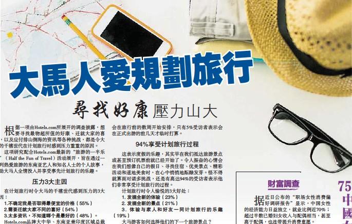 ??  ?? 編輯:楊麗琴 1. 發掘全新的體驗(23%) 2. 發掘全新的景點(21%) 3. 體驗與家人和好友一同計劃旅行的樂趣(19%)