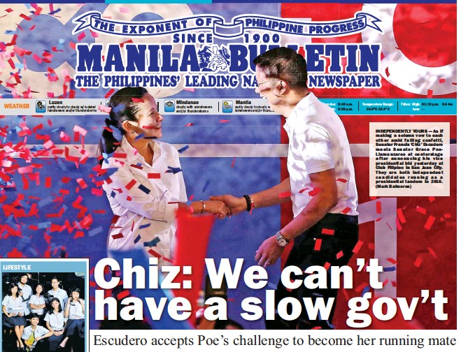 ??  ?? INDEPENDENTLY YOURS — As if making a solemn vow to each other amid falling confetti, Senator Francis 'Chiz' Escudero meets Senator Grace PoeLlamanzares at centerstage after announcing his vice presidential bid yesterday at Club Filipino in San Juan...