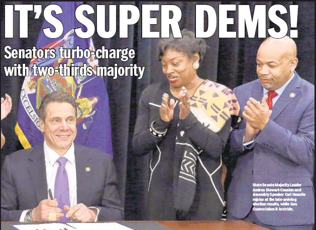 ??  ?? State Senate Majority Leader Andrea Stewart-Cousins and Assembly Speaker Carl Heastie rejoice at the late-arriving election results, while Gov. Cuomo takes it in stride.