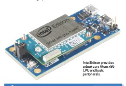 ??  ?? Intel Edison provides a dual-core Atom x86 CPU and basic peripherals.