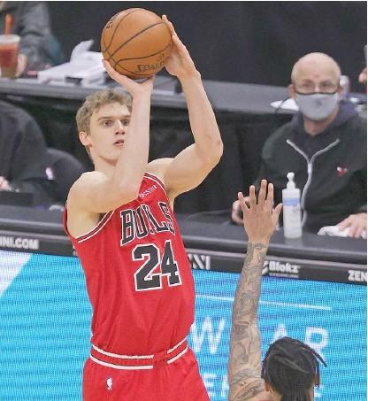?? JONATHAN DANIEL/GETTY IMAGES ?? Bulls big man Lauri Markkanen had a season-high 31 points Saturday night against the Trail Blazers.