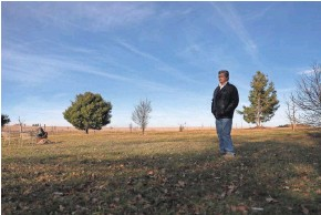 """?? EMILY HAMER/WISCONSIN CENTER FOR INVESTIGATIVE JOURNALISM ?? Alan Jewell has family land next to the proposed solar farm. """"This is an ugly, ugly mark on the land,"""" Jewell says about the proposed 1.2 million solar panels that would be installed."""