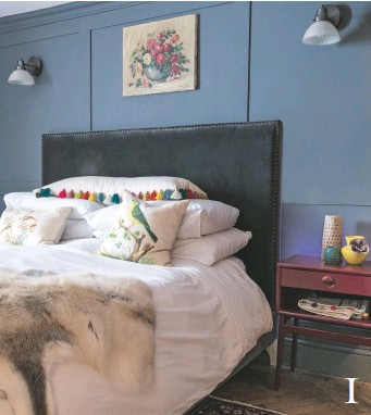 ??  ?? 1 1& 3 MASTER BEDROOM The reclaimed parquet flooring, sourced from a local salvage yard, teamed with this antique rug, bring character and comfort to this once gloomy basement. marais double bed in scarborough velvet, £884, sofas & stuff. reindeer...