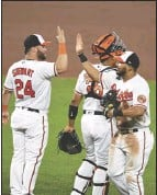 ?? Associated Press ?? Baltimore Orioles congratulate one another after defeating the Los Angeles Angels 10-6 in a baseball game on Wednesday in Baltimore.