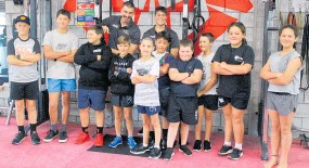 ??  ?? Fitness and services supervisor Dane Carr and youth worker Trint Kelsen with the Strong Cub holiday programme attendees.