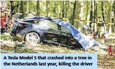 ??  ?? A Tesla Model S that crashed into a tree in the Netherlands last year, killing the driver