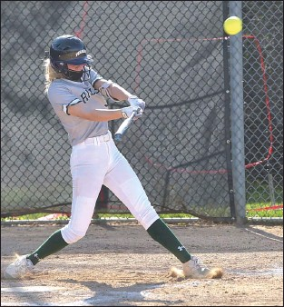 ?? PETE BANNAN – MEDIANEWS GROUP ?? Ridley pitcher Madison Chapman slugs a double to score a run for the Green Raiders. She then went on to score the winning run as Ridley defeated Haverford 2-1at home.