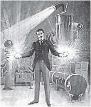 ?? Рисунок начала XX в. ?? Никола Тесла в своей лаборатории с двумя «шаровыми» молниями в руках.