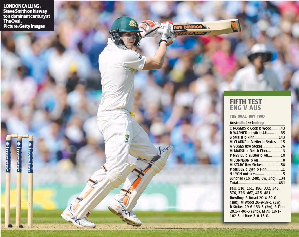 ?? Picture: Getty Images ?? LONDON CALLING: Steve Smith on his way to a dominant century at The Oval.