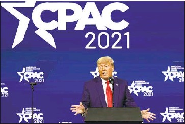 ?? John Raoux Associated Press ?? SPEAKING SUNDAY at the Conservati­ve Political Action Conference in Orlando, Fla., former President Trump vowed to raise campaign money to unseat the 17 Republican­s who voted to impeach or convict him.