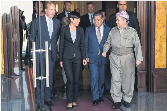 ?? FOTO: TORE MEEK, NTB SCANPIX ?? ØNSKER EGEN STAT: De irakiske kurdernes president Massoud Barzani har varslet folkeavstemning om uavhengighet 25. september, til protester fra Bagdad og naboland. Utenriksminister Børge Brende (H) og forsvarsminister Ine Eriksen Søreide (H) besøkte ham i 2015 og Norge har sendt soldater for å trene opp militsen hans.