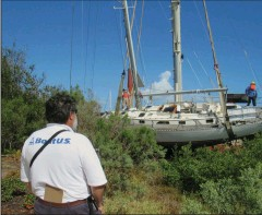 ??  ?? In 2017, Hurricane Matthew wreaked havoc on northeast Florida, with floodwaters leaving boats high and dry. Removing them was an expensive, difficult process.