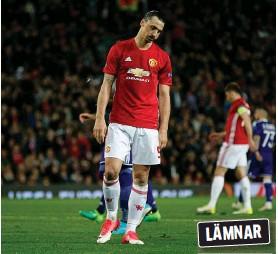 ?? Bild: ANDREW YATES ?? FLYTTAR IGEN? Zlatan kan ha spelat sin sista match för Manchester United.