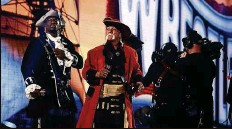 ??  ?? Hosts Titus O'Neil, left, and Hulk Hogan fully embrace Tampa's pirate past on the second night of WrestleMania 37.