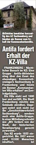 ?? ?? Aktivisten besetzten kurzzeitig das KZ Sachsenburg und hissten ein Banner zum Erhalt der Kommandantenvilla.