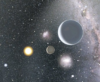 ?? KAREN TERAMURA AND BJ FULTON/ UNIVERSITY OF HAWAII, INSTITUTE FOR ASTRONOMY ?? Artist's impression of the HD 7924 planetary system looking back toward our sun.