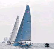 ??  ?? More than 100 yachts will stage a traditional sail-past of a Royal Thai Navy frigate off Kata beach today.