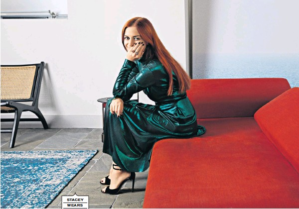 ??  ?? STACEY WEARS Green dress from clairemischevani.com; shoes are Jimmy Choo