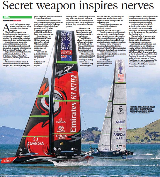 ?? Photo / Richard Glad­well ?? Team NZ and Amer­i­can Magic come close to­gether dur­ing test­ing on Auck­land Har­bour.