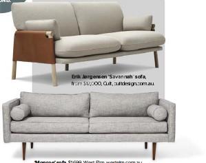??  ?? Erik Jørgensen 'Savannah' sofa, from $12,000, Cult, cultdesign.com.au. ' Monroe' sofa, $1699, West Elm, westelm.com.au.