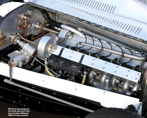 ??  ?? With Roots supercharger and twin Zenith carbs the 3.2-litre twin-cam makes 182bhp and 240lb ft of torque on petrol