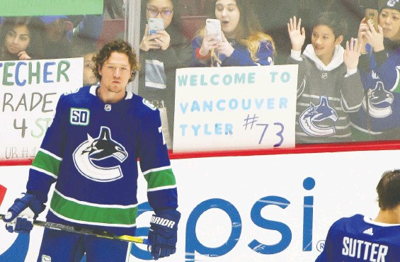 ?? ARLEN REDEKOP ?? Canucks winger Tyler Toffoli was meshing well with his new team 10 games into the season, with six goals and four assists, before it was suspended.