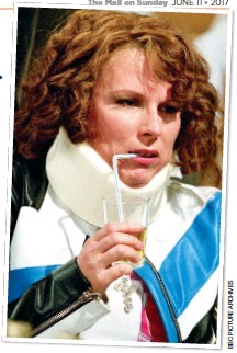 ??  ?? NO HELP: Edina from Absolutely Fabulous sports a neck brace – but experts say that this won't cure whiplash