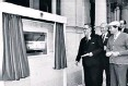 ??  ?? All change: Britain's first cash machine