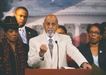 ?? MARK WILSON/GETTY IMAGES ?? Rep. Hastings, joined by other members of the Congressio­nal Black Caucus, calls for confirmati­on of Black judicial nominees in 2013.