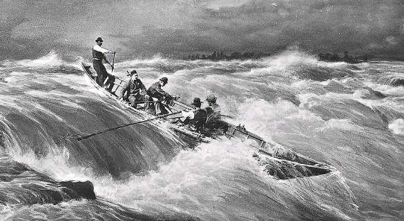 ??  ?? A ten-metre-long lumberman's batteau, a more modern version of the hardy craft used on the St. Lawrence River, navigates through the Lachine Rapids. The picture was staged by famed photographer William Notman in the yard behind his studio to recreate a real incident from January 1, 1878.