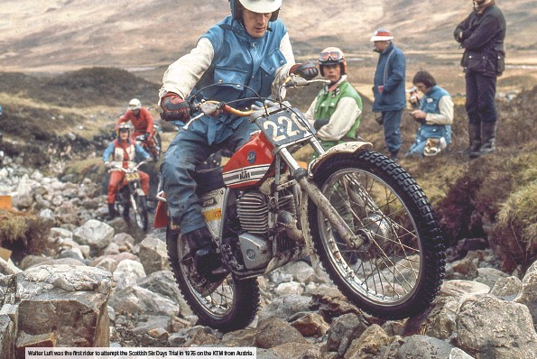 ??  ?? Walter Luft was the first rider to attempt the Scottish Six Days Trial in 1976 on the KTM from Austria.