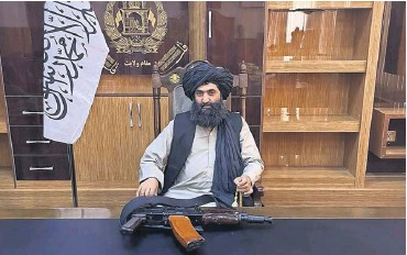 ?? PHOTOGRAPH: EMMA GRAHAM-HARRISON ?? Talib Mawlawi in his headquarters in Lashkar Gah. He said the west should now recognise the Taliban government