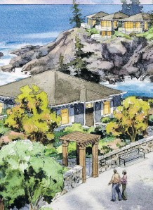 ??  ?? An artist's rendering shows three-storey SookePoint cottage buildings tucked into a cliffside on the southwest tip of Vancouver Island.