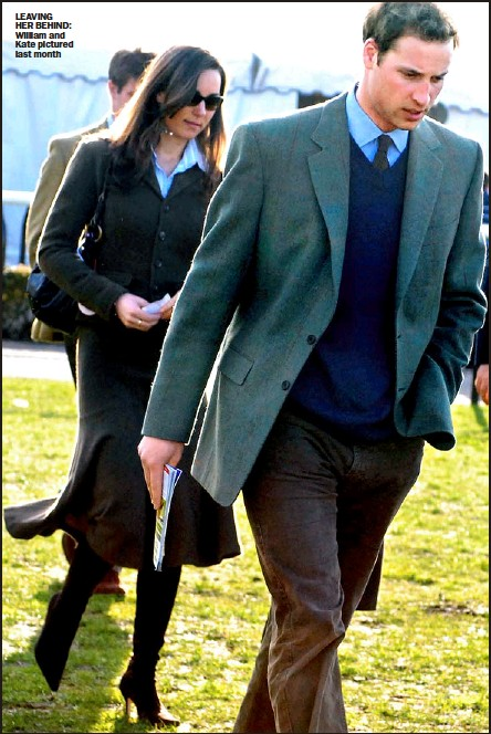 ??  ?? LE AVING HER BEHIND: William and Kate pictured l ast month