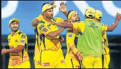 ?? IPL ?? CSK players celebrate their win over KKR on Wednesday.
