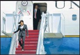 ?? REUTERS ?? US Vice-president Kamala Harris gets off Air Force Two after a snag forced it to land at Joint Base Andrews in Maryland, US.