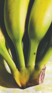 ??  ?? CLOCKWISE FROM TOP: Chewy Vegan Brownies; Green Banana Cashew Sauce; green bananas.