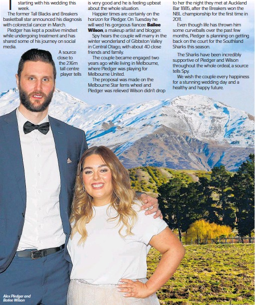 ??  ?? Alex Pledger and Bailee Wilson A source close to the 2.16m tall centre player tells