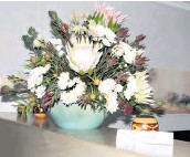??  ?? Megan Groom used proteas in her bowl arrangement
