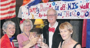 ?? PHOTO: JARED MORGAN ?? Toasting Trump's toppling . . . Raising a glass to President Donald Trump's defeat in the US election are (from left) Suzanne Russell, of Clyde, Marilyn and Timothy Fleming, and Nola Hambleton, all of Alexandra.