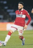??  ?? Middlesbro­ugh's Marcus Browne suffered a bad injury at Brentford.
